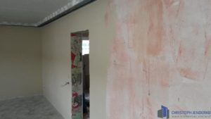 Spachtelarbeiten an Wand